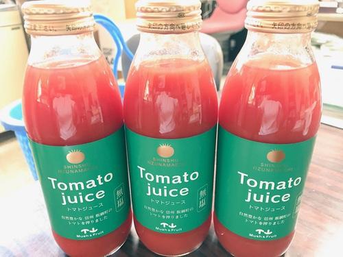 ウチで販売しているマッシュ&フルーツの無塩・無添加の美味しいトマトジュースが再入荷してきます。