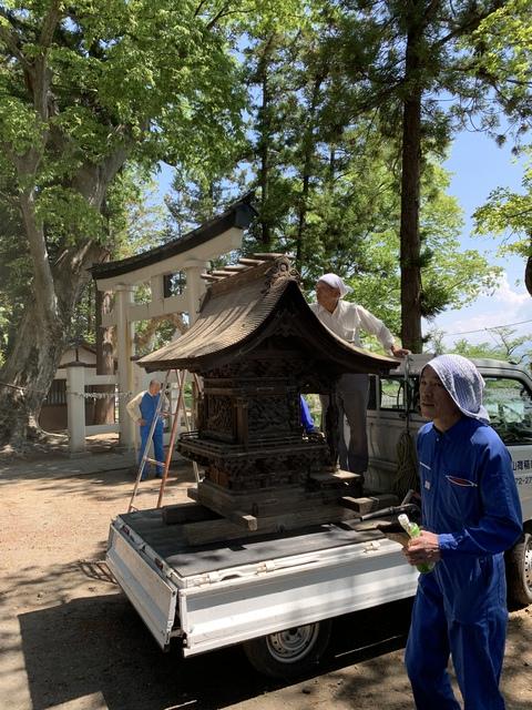 高市社神殿を搬出しました