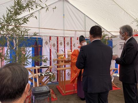 雨宮統合保育園の地鎮祭安全祈願祭を行いました