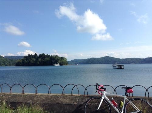 ロードバイクで野尻湖